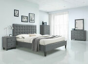 New Modern Style 5 Pieces Bedroom Suite W. Gray Faux Leather Queen Bed Set Iabq