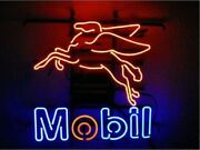 New Mobil Gasoline Mobilgas Motorcycles Wall Decor Neon Sign 17x14