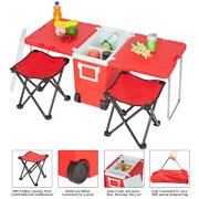 Red Small Wheeled Rolling Cooler Ice Chest Picnic Camping W/ Table And 2 Chairs