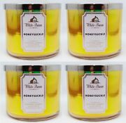 4 Bath And Body Works White Barn Honeysuckle 3 Wick Scented Wax Candle 14.5 Large