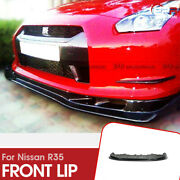 For Nissan R35 09-11 Gtr As Style Carbon Glossy Finished Front Lip W/undertray