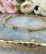 Solid 14ct Yellow Gold Emerald And Diamond 8 Bracelet Vintage Style