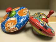 Vintage 1974 J. Chein And Co. Metal Tin Litho Raggedy Ann And Andy Spinning Top Toys