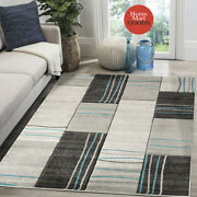 Brand New Soft Geometric Rectangles Hand-carved Modern Contemporary Area Rug