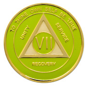 7 Year Aa Coin Lime Green Alcoholics Anonymous Anniversary Sobriety Medallion
