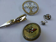 Vintage Masonic / Fraternal Jewelry X4 Shriners Masons Oes Tie Clip, Pins, Bolo