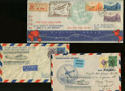 3 Nice Hong Kong To Guam First Flight Covers From 1937 China Clipper Fam 14