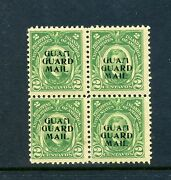 Guam Scott M1 Mint Block Of 4 Stamps With Unlisted Overprint Shift Stk G M1-1