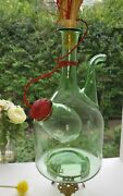 Vintage Italian Hand Blown Green Glass Wine Decanter With Ice Chamber
