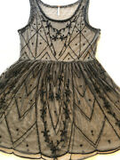 Free People Beaded Tulle Baby Doll Dress 1920s Victorian Edwardian Gothic Boho
