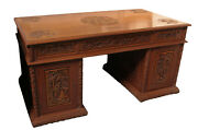 Vintage Chinese Pedestal Desk Detailed Scenery Carvings And Gilt Panels