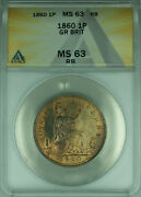 1860 Great Britain One Penny 1p Coin Bu Unc Anacs Ms-63 Rb Better Coin Wb1