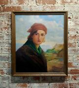 Adriaan De Groot -portrait Of A Girl With A Red Bandana-oil Painting-1932