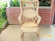 Antique Victorian Rattan/wicker Rocking Chair. Pre-owned