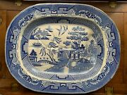 Large Antique Blue Willow Pearlware Meat Platter With Well And Tree 19th Century