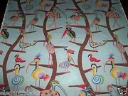 Clarence House Whimsical Polly Birds Toile Linen Fabric 10 Yards Blue Multi