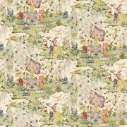 Brunschwig And Fils Middle Eastern Persian Toile Cotton Fabric 10 Yards Cream Mult