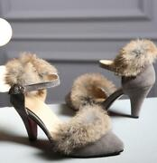Women Ankle Strap Sexy Almond Toe Faux Suede Sexy Rabbit Fur Cone Heel Shoes