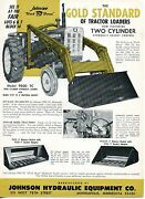 1966 Print Ad Of Johnson Hydraulic Gold Standard 9500 Tc Loader W Oliver Tractor