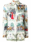 Rare Hermandeacutes Vintage Chantilly Horse Print Silk Shirt By Maurice Taquoy Sz 40