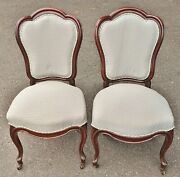 Pair Antique American Victorian 19th C Carved Mahogany Upholstery Slipper Chairs