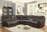 New 6pcs Sectional Living Room Brown Faux Leather Reclining Sofa Couch Set If61