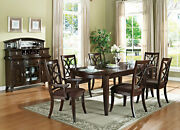 New Cherry Brown Finish 7 Piece Dining Room Set W/ Rectangular Table Chairs Iacx