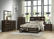 Modern Brown Finish 5 Piece Bedroom Set W/ King Size Bookcase Storage Bed Ia40