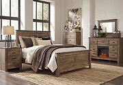 New 5 Pieces Modern Cottage Warm Brown Finish Bedroom Set W/ Queen Panel Bed A2f
