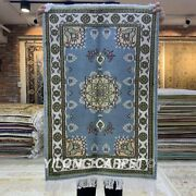 Yilong 2and039x3and039 Blue Handmade Silk Carpet Medallion Home Sitting Room Rug 118c