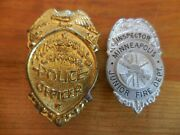 Antique Minneapolis Junior Police And Fire Inspector Tin Costume Badges Toy Kids
