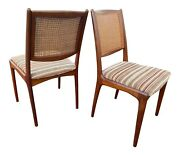 Pair Of Teak And Cane Mid Century Danish Side Chairs