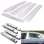 For 2007-2012 Nissan Altima 6pc Chrome Pillar Post Trims + 4dr Handle Covers