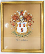 Antique Coach Painted Gouache Family Crest Coat Of Arms And Co Signed