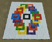 Newrainbow Rings Quilt Lap/throw 50 X 60 Bright Colors Red Blue Yellow Green