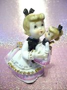 Rare Vtg Lefton Pink Girl Angel W Look A Like Baby Doll And Tag Figurine Ex