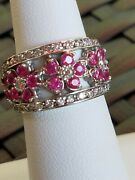 Vintage 14k White Gold Pink Sapphire And Diamond Ornate Band Ring- Size 6.75