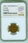 Ngc 35 Bn 1864 L Indian Cent Fs 2304, Snow 4 Rotated Dies