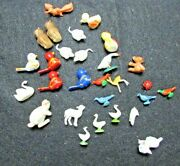 Mixed 28 Piece Lot Of Vintage Plastic Miniature Animals For Doll Houses, Crafts