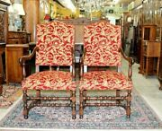 Carved French Antique Walnut Louis Xiv 2 Armchairs Circa 1890s