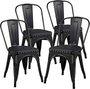 18inch 4pcs Metal Dinning Chairs With Pu Leather Seat High Back Soft Cushioned