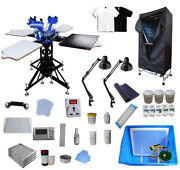 3 Color Screen Printing Kit Rotary Screen Printing Press Machine With 4 Station