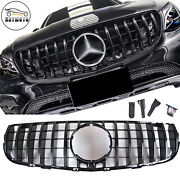 Gt Style Gloss Black Front Grille For Mercedes Benz X253 Glc300 Glc350 16-19