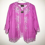 Bob Mackie Size Xl Linen Blend Cut Out Trim Cardigan And Tank Top Set In Purple