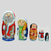 Nesting Dolls Santa Claus With Snow Maiden Hand-painted Signed Russian Babushka
