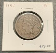 1847 U.s. Coronet Head Large Cent Vf Condition 2.95 Max Shipping C3879