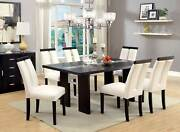 New Dining Room Black Rectangular Table W. Led Lighted And Beige Chairs Set Ice1