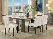 Modern Dining Room Gray Rectangular Table W. Led Lighted And Beige Chairs Set Ice2