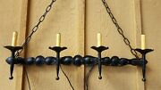 Antique Spanish/gothic Revival Hand Forged Four Light Wall Candleabra
