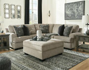 Comfortable Living Room Set - Brown Chenille Sectional Sofa Couch And Ottoman Ig0x
